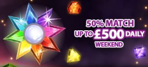 50% Daily match up to £500​​