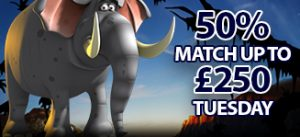 Tuesday Match – 50% Match up to £250